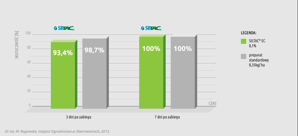Wykres skuteczności preparatu Siltac EC w ochronie buraka ćwikłowego przed mszycą burakową (Aphis fabae Scop.)