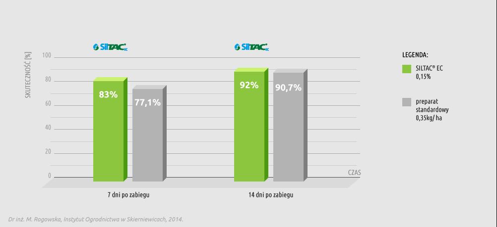 Wykres skuteczności preparatu Siltac EC w redukowaniu populacji mszycy na bobie